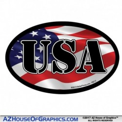 USA Oval Hard Hat Sticker - HH002