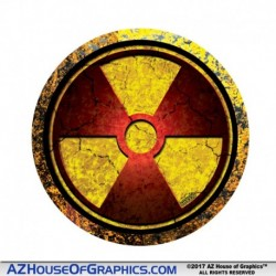 Radiation Red Grunge Hard Hat Sticker - HH009