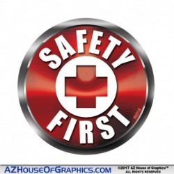 SAFETY FIRST Hard Hat Sticker RED - HH018