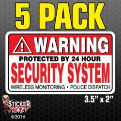 Warning Security System Sticker 5-Pack FS031