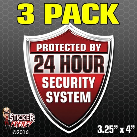 24 Hour Security System Shield Sticker 3-Pack FS041