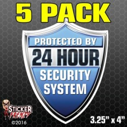 24 Hour Security System Shield Sticker (Blue) 5-Pack FS042