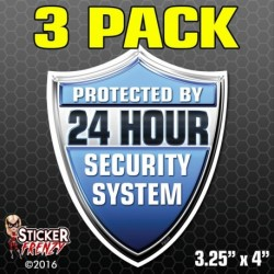 24 Hour Security System Shield Sticker (Blue) 3-Pack FS042