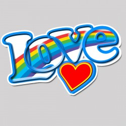Love Rainbow Heart Hippie Sticker