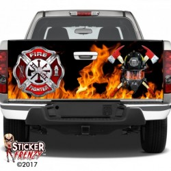 Firefighter Badge Mask Tailgate Decal