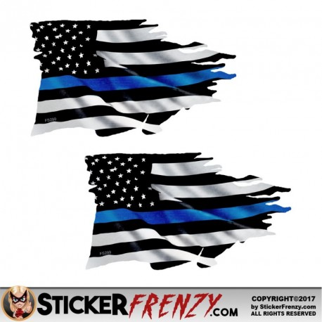 Thin Blue Line Tattered Flag