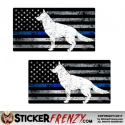 FS2046 Blue Line Dog Flag Sticker 2 Pack