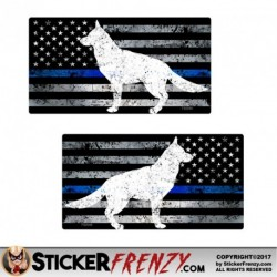 FS2046LR Blue Line Dog Flag Mirror Sticker 2 Pack