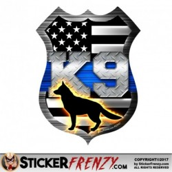 FS2047 Blue Line Shield K9 Dog Sticker